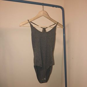 Grey Cross Strap Back Bodysuit